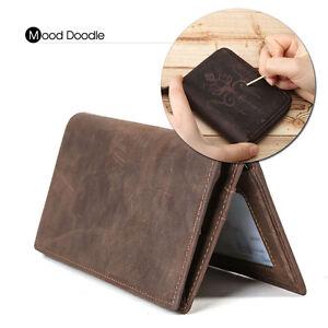 Men's Genuine Leather Purse Credit Card Case ID Holder Money Clip Bifold Wallet