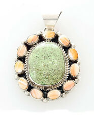 Native American Handmade Sterling Silver with Gaspeite and Spiny Oyster Pendant
