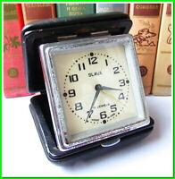 Vintage Travelling Clock Slava 11 Jewels Soviet Mechanical Alarm Clock 1970 #011