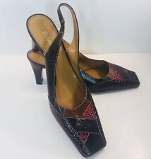 Etienne Aigner Shoes sz 6 M slingback heels Multi Colored Brown Dunhill G43