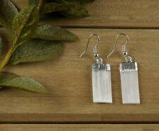Selenite Crystal Earrings E0134 White Selenite Earrings - Raw