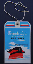 Etiquette de bagages NEW YORK CGT Baggge room French line paquebot french label