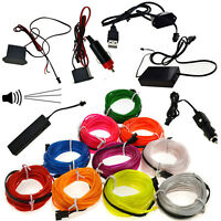 LED Glow Neon EL Wire Light String Strip Rope Tube Car Party Decor + Controller