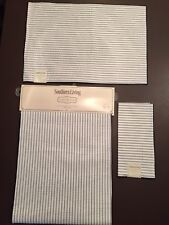 SOUTHERN LIVING Table Runner,4 Napkins & 4 Placemats Cream/Blue Stripes NWT