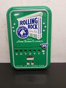 "Latrobe Brewing Co Rolling Rock Extra Pale Premium Beer Metal Calendar Sign ""33"""