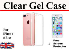 For iPhone 8 Plus TPU Gel Jelly Clear Phone Back Case & Free Screen Protector