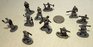Lot of 11 Very Small Micro Machine Plastic Figures of Soldiers in Gray Lot D