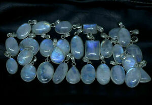 20pcs Rainbow Moonstone Gemstone Bezel Pendant 925 Sterling Silver Overlay wh-33