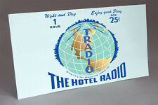 TRADIO HOTEL RADIO COIN OPERATED TUBE RADIO WATER SLIDE DECAL LIGHT BLUE2