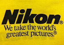 Vintage 80s NIKON Cameras T SHIRT Yellow Screen Stars Thin Soft Mens sz M L RARE