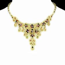 925 Sterling Silber Collier, Natural Mehrfarbige Turmalin, Gelbgold beschichtet