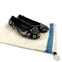 Tory Burch Black Patent Leather Minnie Stamped Floral Ballet Flat Womens Size 9M