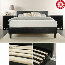 Bed Frame King Size Platform Upholstered Bedroom Furniture Wood Slats Headboard