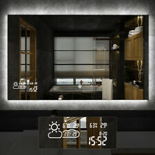 Vanity Bathroom Mirror Antifog Mirror with LED Light Weather Forecast Calendar