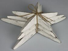 Handmade Carved Wooden Starfish Shabby Chic Set of 3 Ornaments