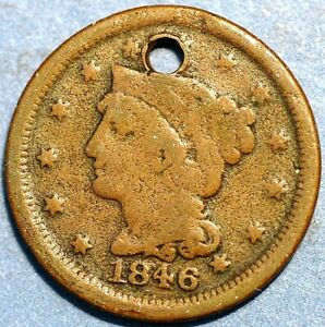 1 Cent 1846 Liberty Head/Braided Hair Cent KM# 67 United States P469
