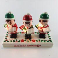 Vintage Christmas Carolers Lighted Seasons Greetings Hong Kong 1983 Singer MI596