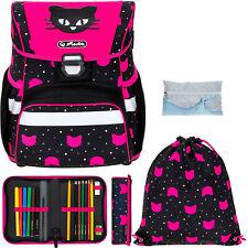 Schulranzen Mädchen Herlitz Loop Ranzen Schultasche, 5T Set Black Cat 2440 +r