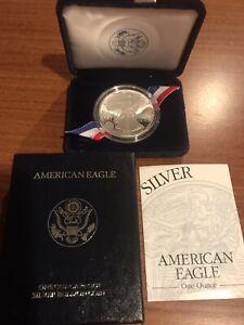 1995-P American Silver Eagle Proof - 1 Oz Silver Bullion, Velvet Box, & COA