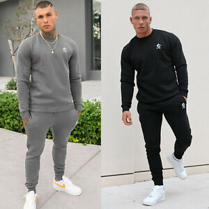 Gym King Mens Fleece Crew Full Tracksuit Set Designer Basis Sweatshirt Joggers