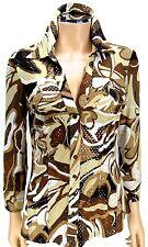 CACHE Snaps Blouse MEDIUM Cocoa Fudge Creme Swirls Print Glitter Glitz Shirt Top