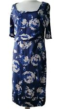 Phase Eight Size 18 Blue Floral Dress Summer Ruched Sides Wedding Evening Party