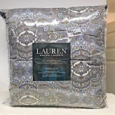New! Ralph Lauren Full Queen Size Paisley Comforter 3 Piece Set Cream Olive Blue