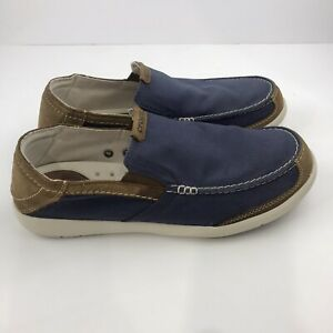 CROCS Triple Comfort Mens Blue Canvas Shoes Size 11