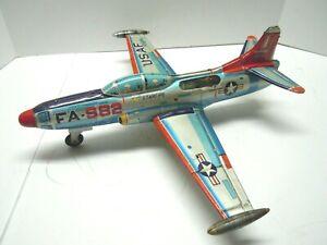1958 Original Yonezawa Japan Big Tin Friction Starfire Jet Fighter Plane.Works.