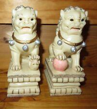 Vintage Ivory colored Asian Foo Fu Dog Figures Bookends