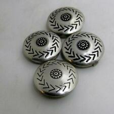 American Tribal/Floral Design Button Covers Lot of 4 Vtg Silver Native