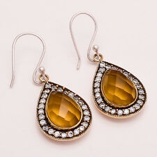 Natural Russian Citrine Gemstone Sterling Silver Cocktail Earring Fine Jewelry