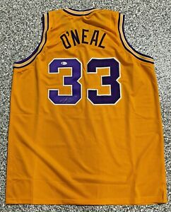 Shaquille Shaq O'Neal Signed Yellow Jersey Auto Beckett BAS Witnessed COA