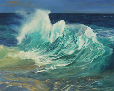 Original Artwork oil painting Ocean wave on stretch canvas, nature 16''x20""
