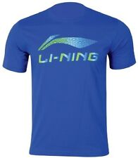Li-Ning Mens Tee T Shirt Extra Large Blue Round Neck Badminton Tennis Squash XL