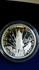 1989 $50 Space Shuttle Discovery Silver Proof Commemorative - Marshall Islands