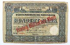WTB 22 Banknote 100 Mark Hundert 1918 Württembergisches NOTENBANK