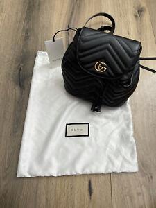 NEW Gucci GG Marmont Black Drawstring Backpack Matelasse Leather Mini Gold