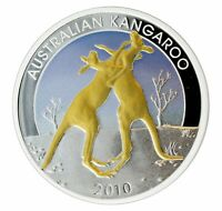 Australien Silber 1 Oz Kangaroo The Perth Mint Silver PP 2010 w/ floating frame