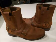 MENS BROWN LEATHER MOTORCYCLE BOOTS SIZE 12 ..XELEMENT...PERFECT CONDITION!