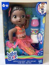 Hasbro Baby Alive Shimmer N Splash Mermaid Doll African American Black Hair