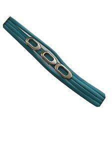 Aqua Teal Leather Bracelet Oval goldtone Trim s65