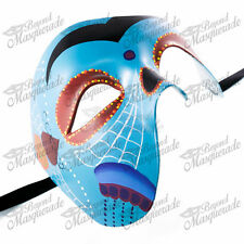 Day of the Dead Skeleton Phantom of the Opera Masquerade Mask Cool Blue Design