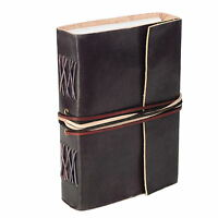 Fair Trade Handmade Leather 3-string Black Leather Journal Notebook Diary