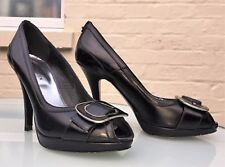 Karen Millen Heels - Black Leather / Open Toe Platform - Eu 38 / UK 5 - Stunning