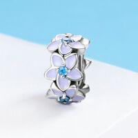Purple Violet Flower CZ Beads Pendant Charm For 925 Silver Bracelet Chain Gifts