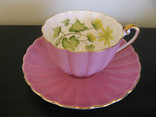 Shelley Ludlow Hot Pink Yellow Flower Ivy China Cup & Saucer