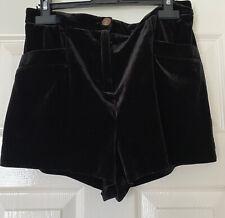 Ladies Black Velvet Shorts