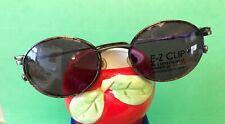 New EZ-CLIP Eyeglasses Magnetic Clip-On Sunglasses Antique Silver Frame Amber