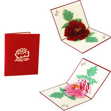 3D Pop Up Cartes voeux Peony Anniversaire Valentine Saint-Valentin Thanksgiving
